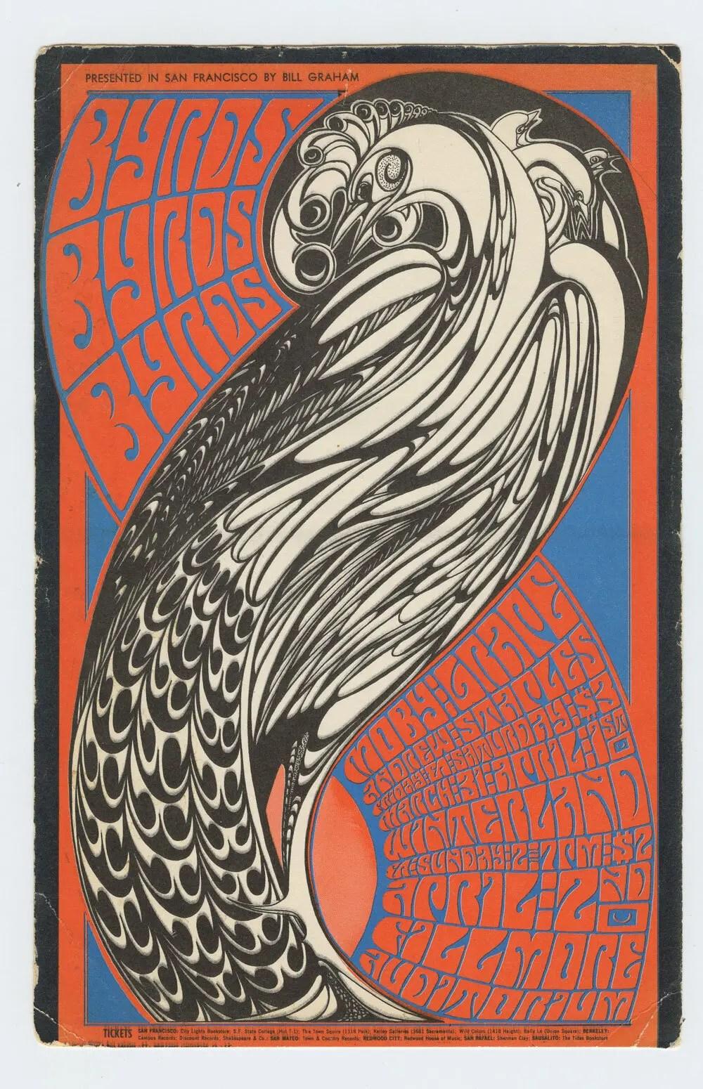 BG 57 Postcard Mailed Byrds Moby Grape 1967 Mar 31
