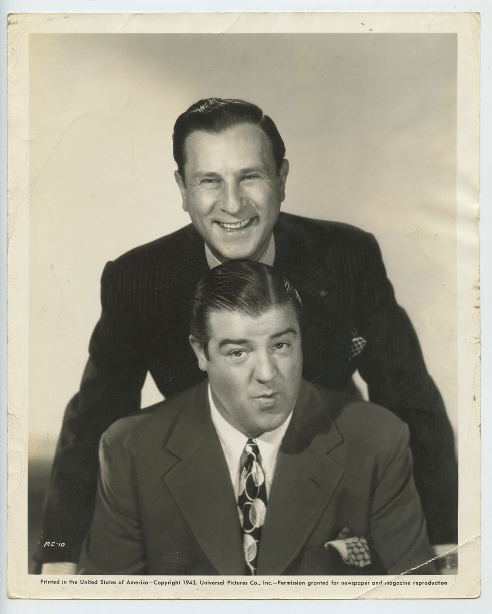 Abbot and Costello Photo 1943 Universal Pictures Publicity Portrait