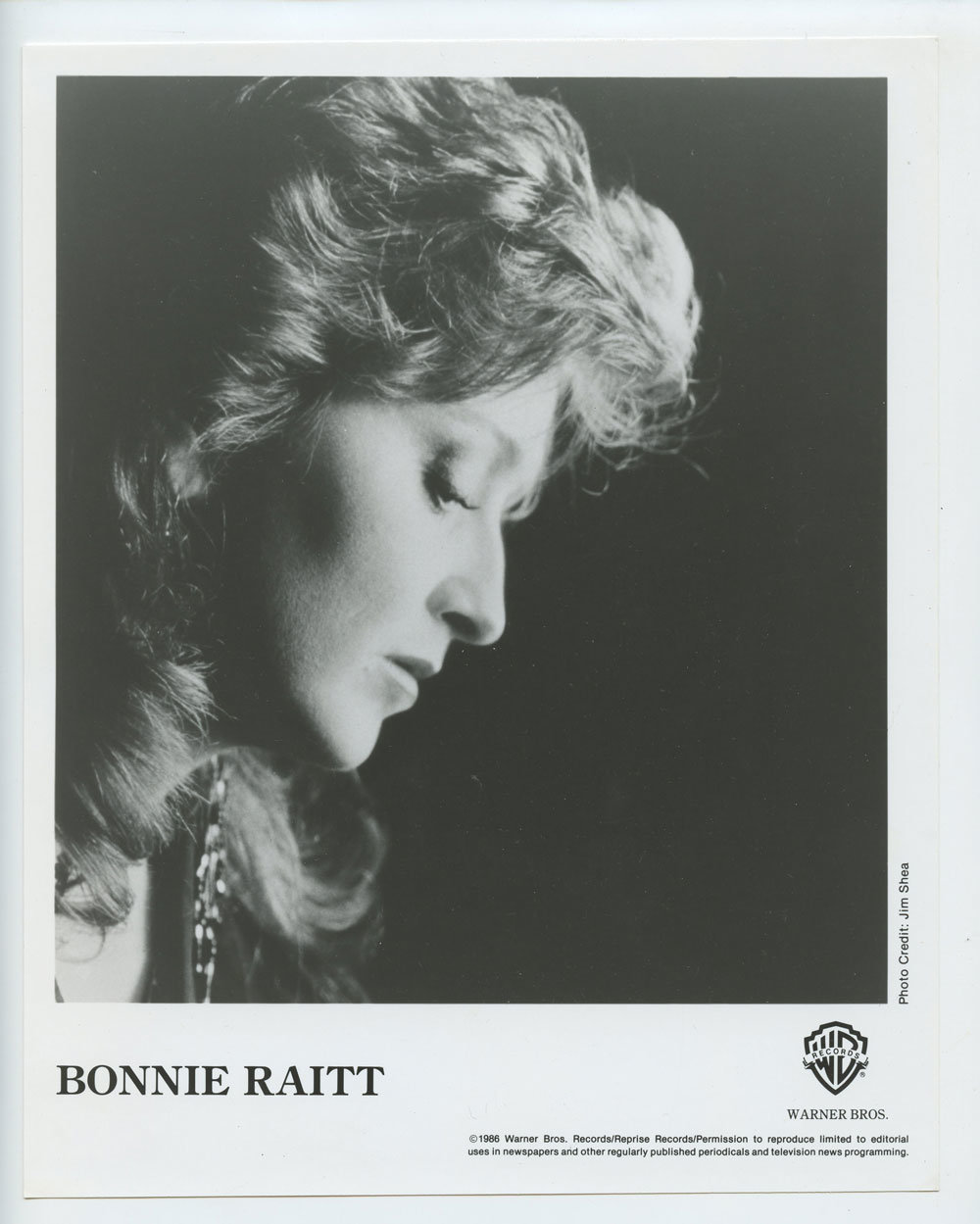 Bonnie Raitt Photo 1986 Publicity Promo Warner Bros Records