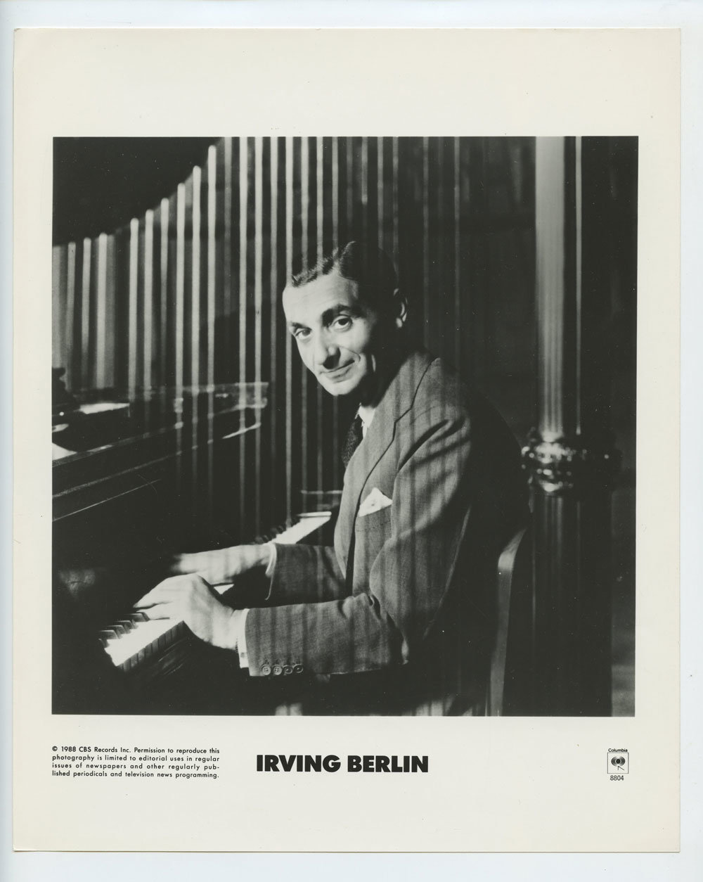 Irving Berlin Photo 1988 Publicity Promo CBS Records
