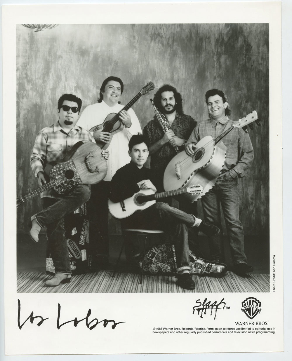 Los Lobos Photo 1988 Publicity Promo Warner Bros Records