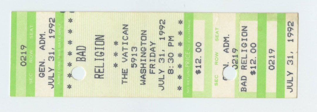 Bad Religion Ticket stub 1992 Jul 31 The Vatican Houston