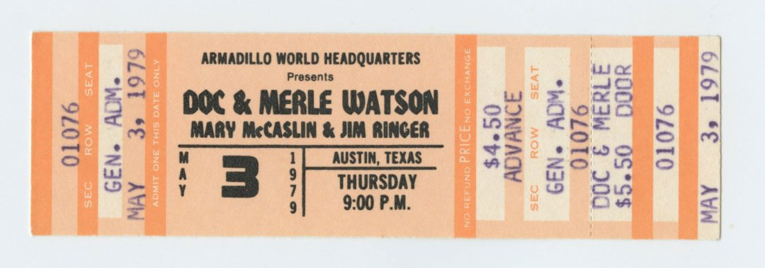 Doc and Merle Watson Ticket 1979 May 3 Austin TX Unused