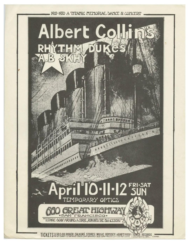 Albert Collins Handbill 1970 Apr 10 Titanic Memorial Party Randy Tuten