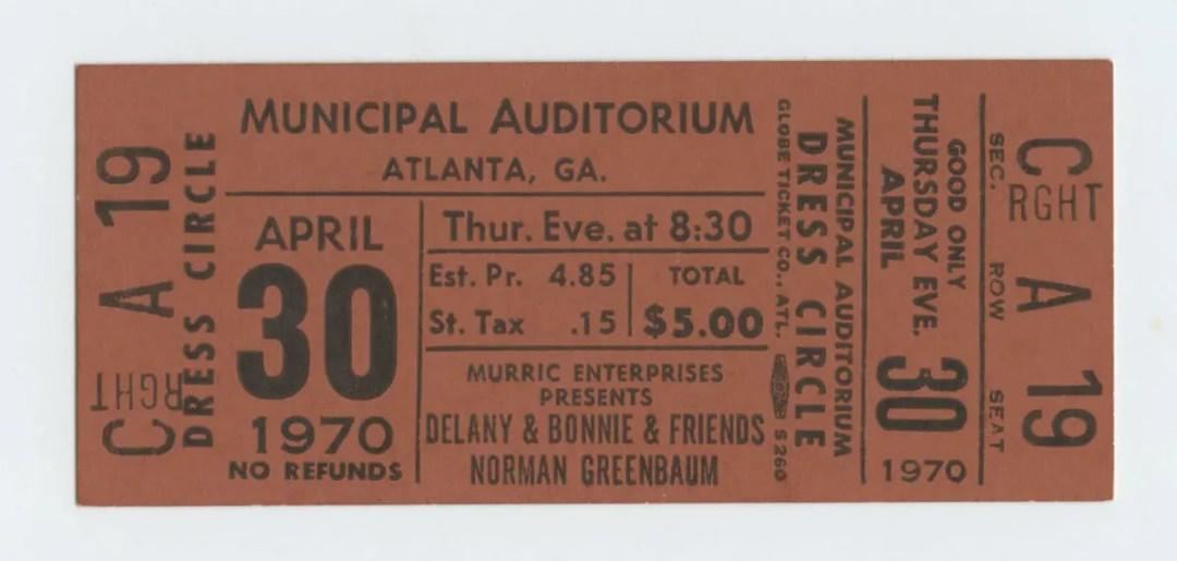 Delaney and Bonnie Norman Greenbaum Ticket 1970 Apr 30 Atlanta