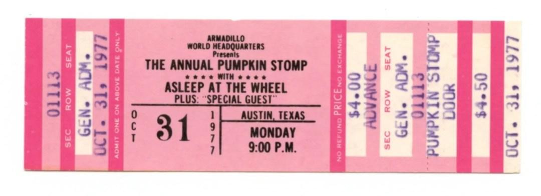 Asleep at the Wheel Ticket 1977 Oct 31 Austin TX Unused