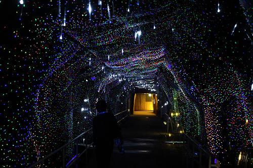 七色に光る、蛍光石のトンネル!