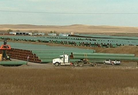 Pipe destined for TransCanada's Keystone XL pipeline is stockpiled near Gascoyne, N.D. (CBC)