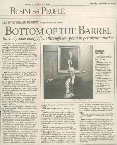 Mr. Barrett interview with The Rocky Mountain News, September 26, 1999