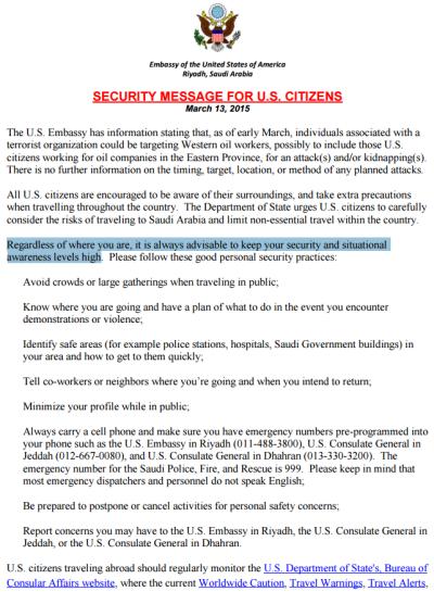 U.S. Embassy Warning