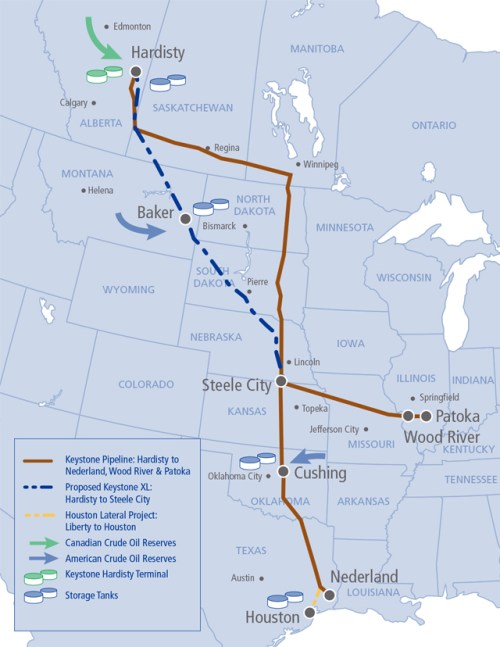 Keystone XL pipeline map, Rail