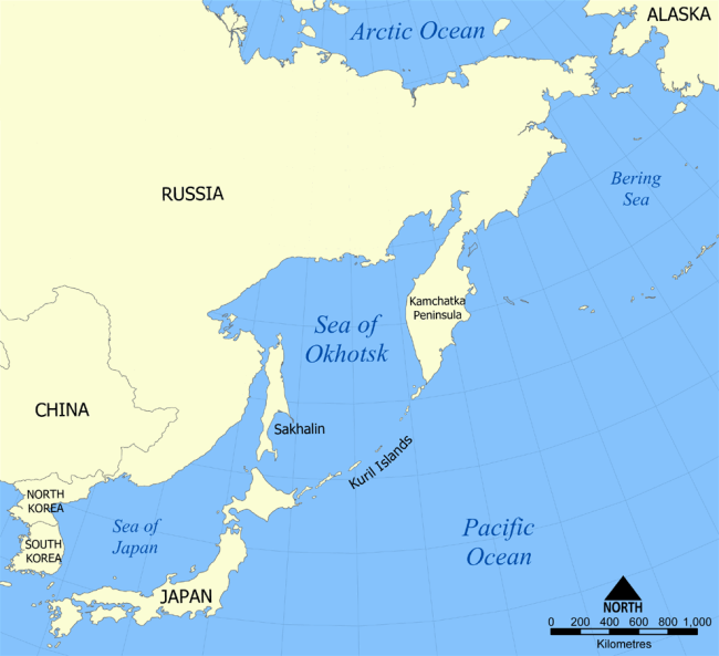 The Kuril Islands off the coasts of Russia and Japan