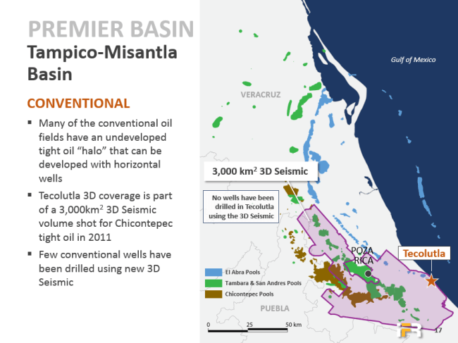 International Frontier Resources ( IFR ) map of the Tampico-Misantla Basin