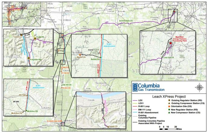 Moving Gas FERC Approves Construction Of TransCanadas Leach - Map of existing us pipelines