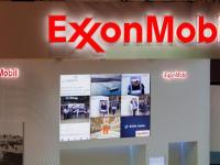 FILE PHOTO: Logos of ExxonMobil are seen in its booth at Gastech, the world's biggest expo for the gas industry, in Chiba, Japan April 4, 2017. REUTERS/Toru Hanai/File Photo