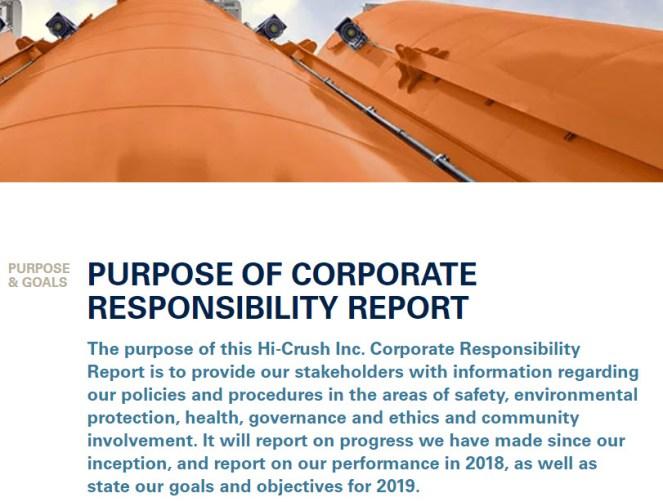 Hi-Crush Inc. Announces Release of Inaugural Corporate Responsibility Report -oilandgas360