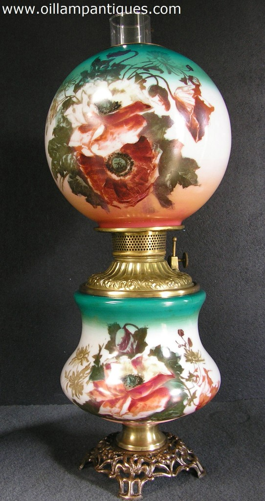 Hand Painted Parlor Lamp Matching Oil Lamp Antiques