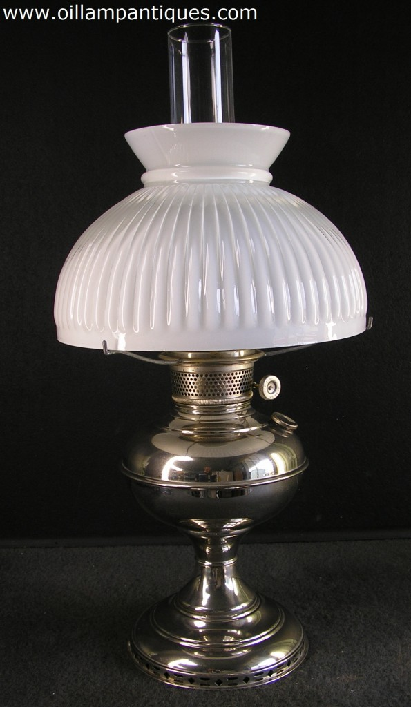 Plume and Atwood Nickel Table Lamp  Oil Lamp Antiques