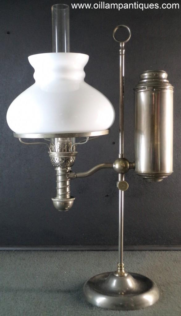 Manhattan Student Lamp  Nickel  Oil Lamp Antiques