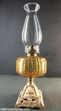 Amber Glass Font Table Lamp - Oil Lamp Antiques