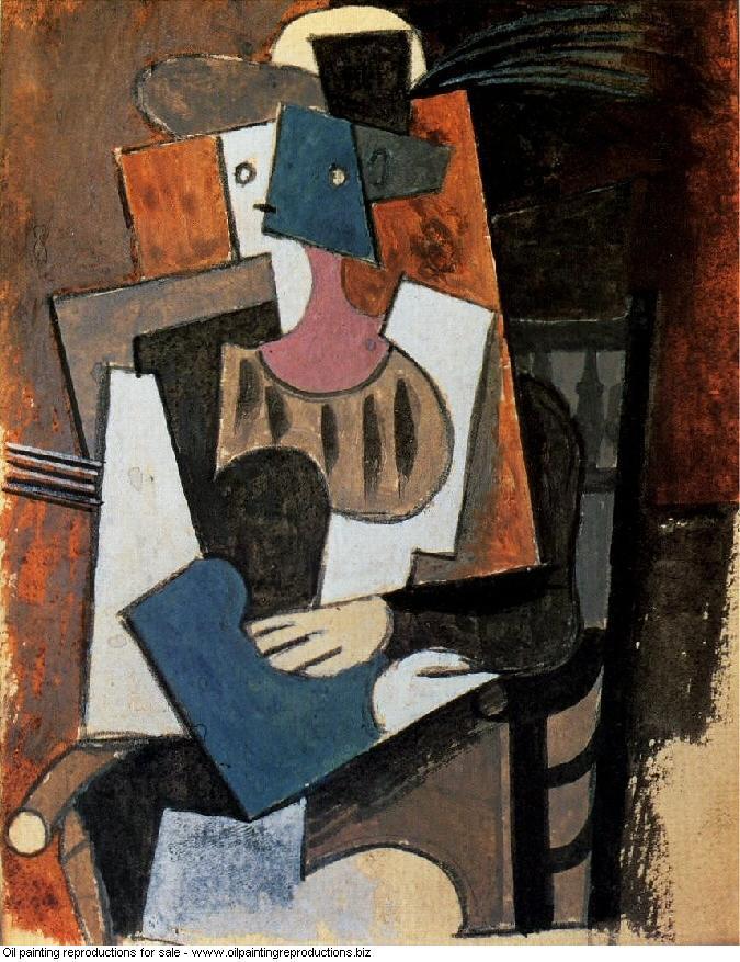 Femme au chapeau a plume assise dans un fauteuil 1919