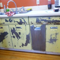 Metal Cabinets Kitchen Aid Juicer Downtown Colorado Springs Craftsman Bungalow Oinkety Beauty Queen Vintage Before Stripping And Powder Coating