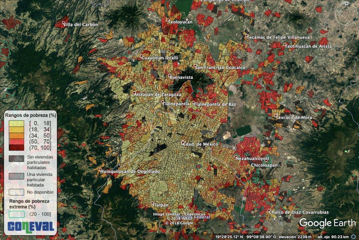 Coneval herramienta pobreza urbana google earth