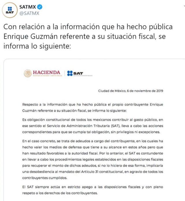 Imagen: Carta del SAT a Enrique Guzmán, 7 de noviembre de 2019 (Imagen: Twitter @SATMX