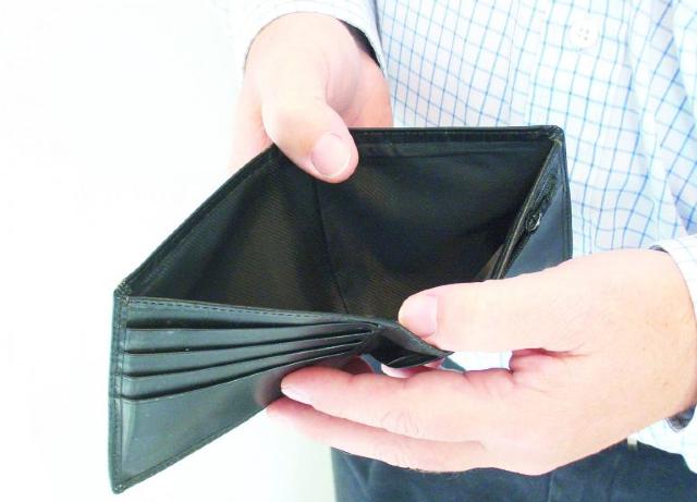 Problemas financieros, Cartera, hombre, manos, billetera, cartera vacía