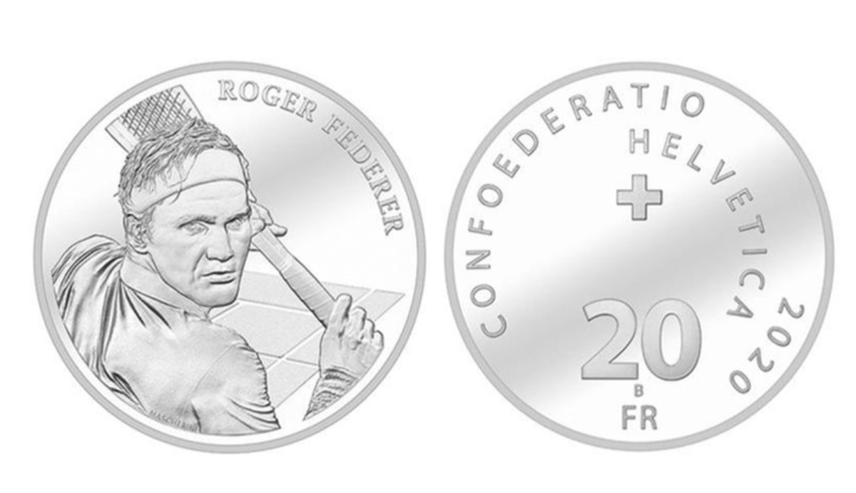 2 de diciembre de 2019, monedas, plata, oro, Roger Federer, monedas suizas con la imagen del tenista Roger Federer (Imagen: Especial)