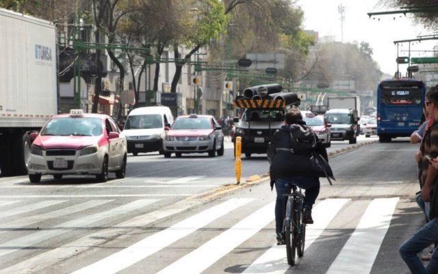 18 de febrero de 2020, desplazamiento en bicicleta en CDMX (Imagen: Twitter @LaSEMOVI)