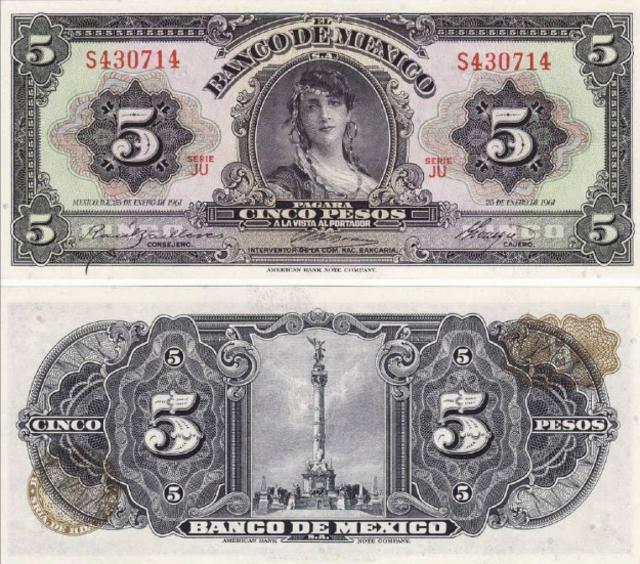 Billete de 5 Pesos, Billete Gitana, Billete, Dinero, México, Banco de México