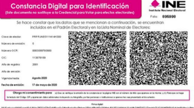 Formato de constancias digitales INE (Imagen: Twitter @liderweb_mx)