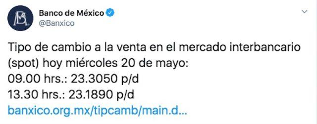 Tipo de cambio en Banxico (Imagen: Twitter @Banxico)