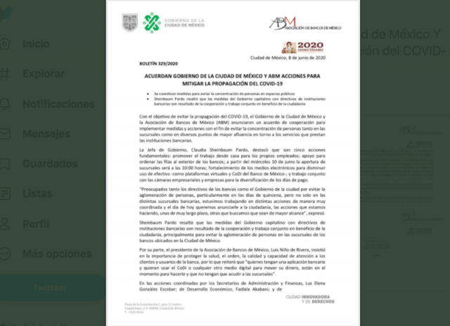 Acuerdo entre la ABM y CDMX (Imagen: Twitter @AsocBancosMx)
