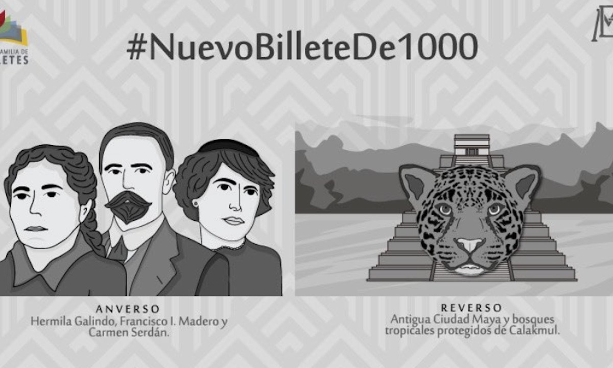 Nuevo billete de mil pesos de Banxico (Imagen: Twitter @EmisionBanxico)