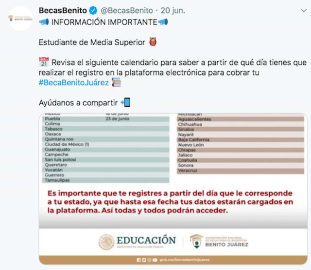 Beneficiarios de becas para el Bienestar Benito Juárez (Imagen: Twitter @BecasBenito)