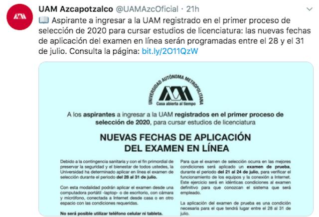 Convocatoria para entrar a la UAM (Imagen: Twitter @UAMAzcOficial)
