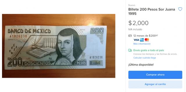 Venta de billete de Sor Juana en plataformas difgitales (Imagen: Mercado Libre)