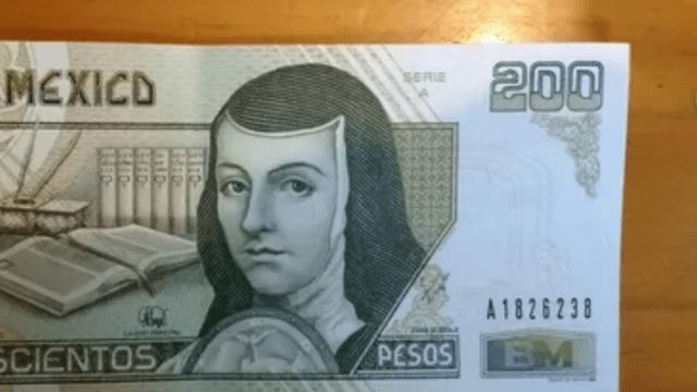 Billete de Sor Juana de 200 pesos (Imagen: Mercado Libre)