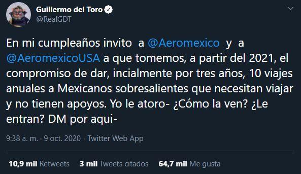 Tweet de Guillermo del Toro para Aeroméxico