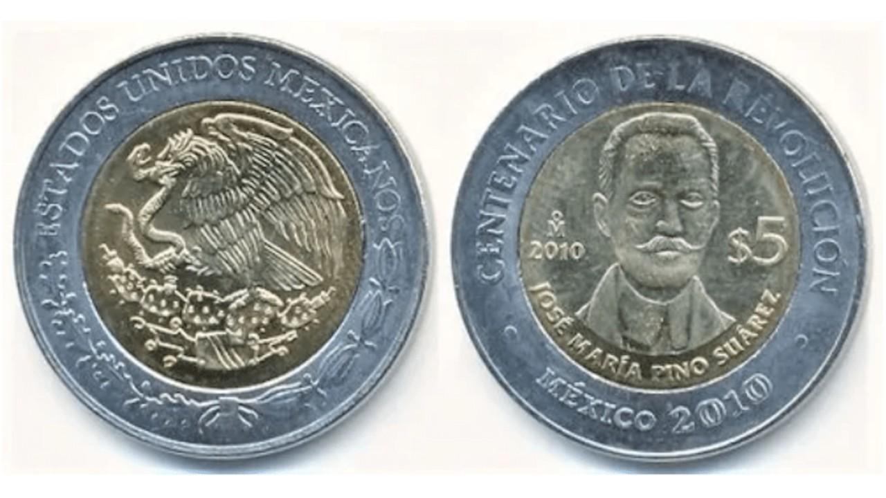 Moneda de 5 pesos de Pino Suárez cuesta más de 3 mil pesos
