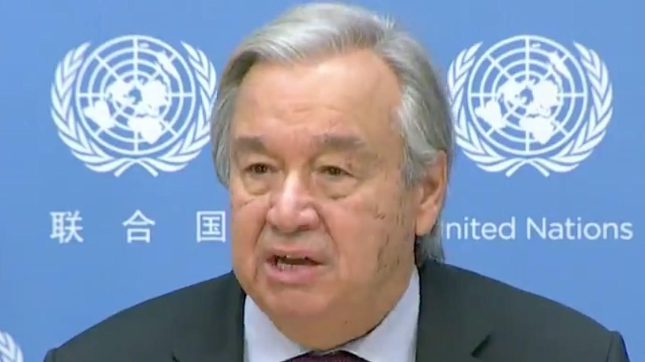 El secretario general de la ONU, Antonio Guterres, en un mensaje grabado en que solicitó la ayuda (Imagen: ONU)