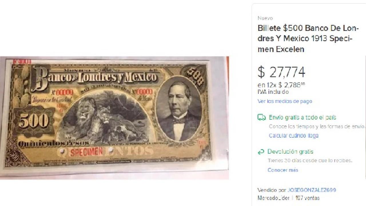 Billete de 500 está a la venta