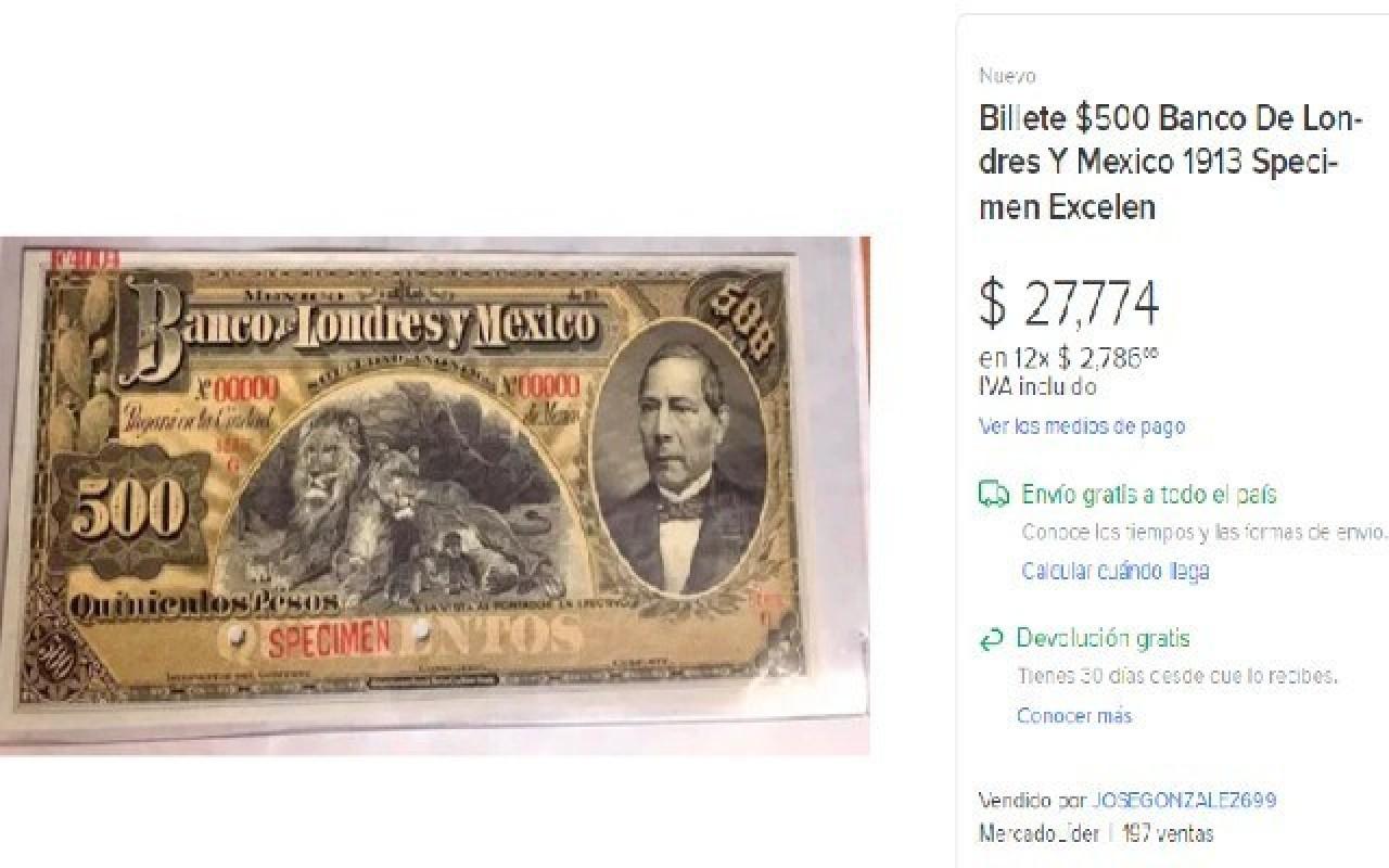 Esto debe tener un billete de 500 pesos si lo quieres vender en 27 mil pesos