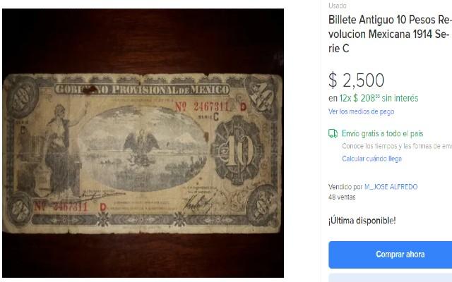 Este es el billete de 10 pesos que se vende en más de 2 mil pesos