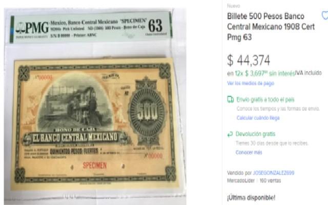 Este es el billete de 500 pesos que se vende en más de 44 mil pesos