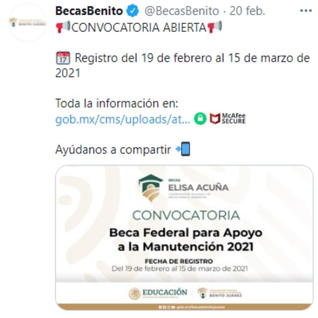 La Coordinación Nacional de Becas para el Bienestar Benito Juárez dio a conocer la convocatoria a través de sus redes sociales