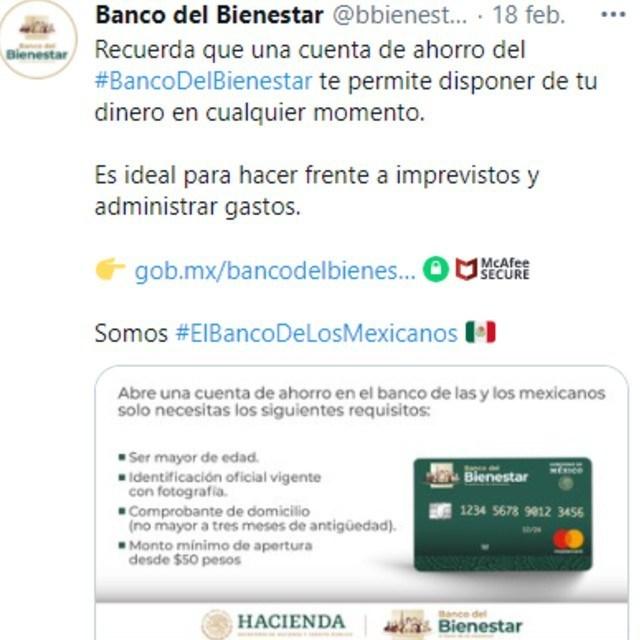 Mediante redes sociales el Banco del Bienestar dio información sobre su tarjeta