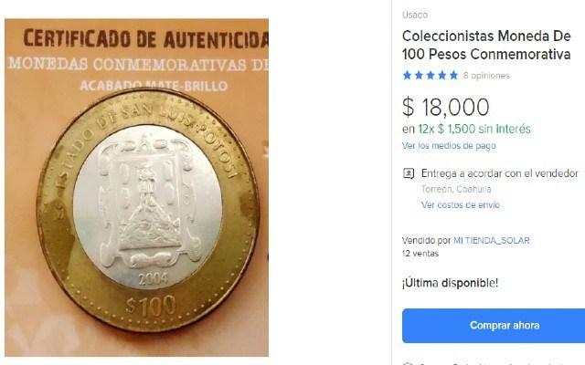 En casi 20 mil pesos se vende esta moneda de 100 pesos